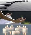 illustration en trois parties : cailloux, méditation et bougies